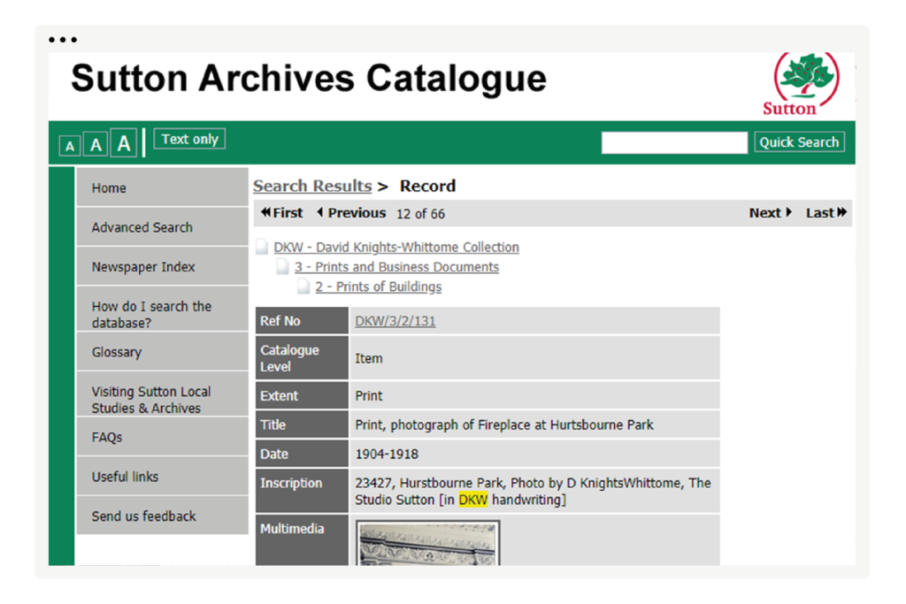 Sutton Archives Catalogue, Knights-Whittome Collection search result